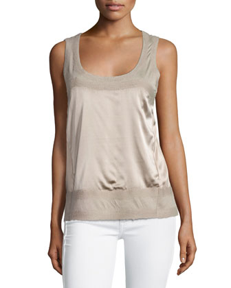 Scoop-Neck Combo Tank Top, Putty