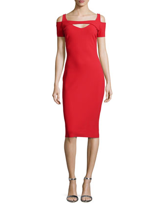 Jodi Cold-Shoulder Ponte Dress, Passion Red