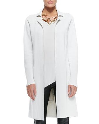Silk-Cotton Interlock Long Drama Jacket, Bone
