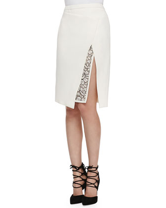 Envelope Skirt with Lace Embroidery, Ivory
