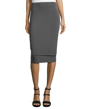 Double-Layer Banded Pencil Skirt, Slate