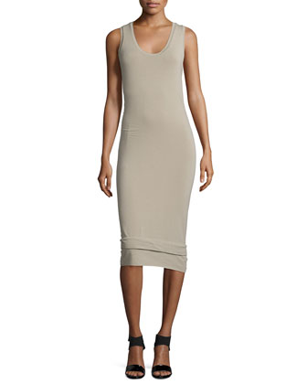 Scoop-Neck Double-Banded Tank Dress, Putty