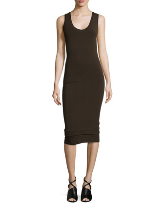 Scoop-Neck Double-Banded Tank Dress, Bark