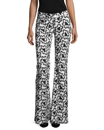 Dagmar Wildflower Flare-Leg Pants, Black/White