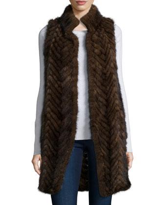 Herringbone Mink Fur Vest