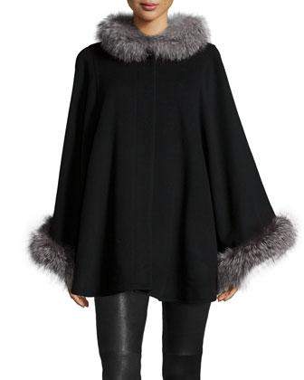 Fur-Collar Wool-Cashmere Cape