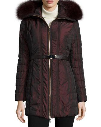 Zip-Front Belted Fur-Trim Puffer Coat