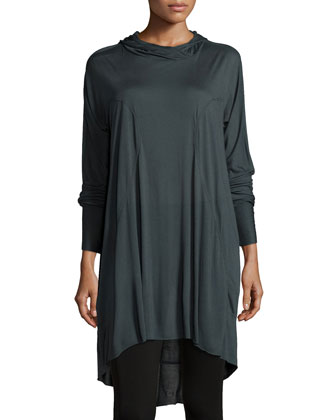 Long-Sleeve Hooded Tunic, Gunmetal