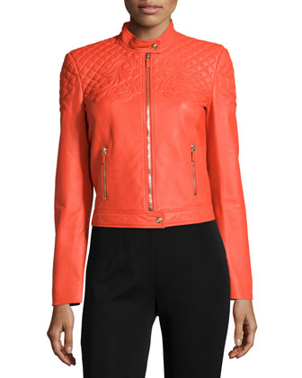 Long-Sleeve Quilted Leather Jacket, Orange