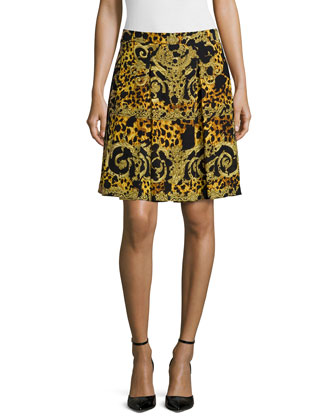 Printed A-Line Skirt, Gold
