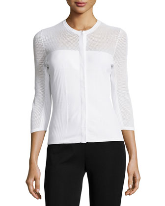Three-Quarter Sleeve Mesh Cardigan, White