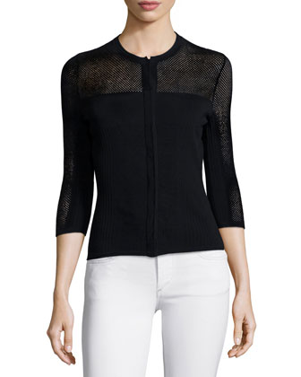 3/4-Sleeve Mesh Cardigan, Black