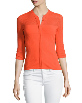 3/4-Sleeve Mesh Cardigan, Orange