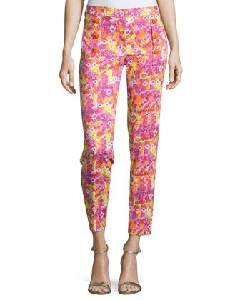 Slim-Fit Ankle Pants, Orange