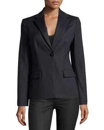 Long-Sleeve One-Button Blazer, Black