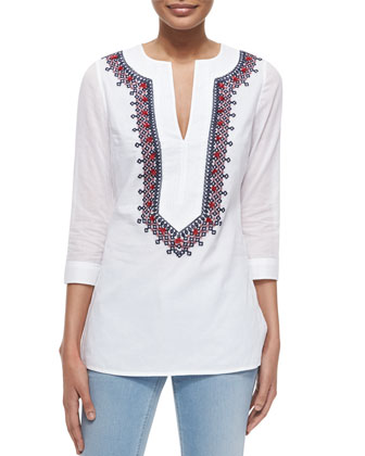 3/4-Sleeve Embroidered Cotton Tunic, White