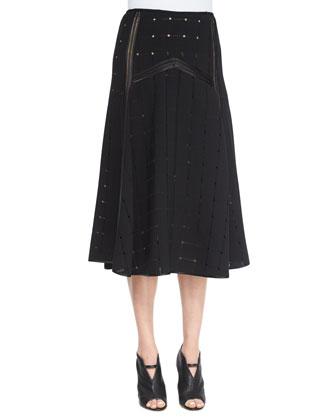 Blake Perforated Midi Skirt, Black
