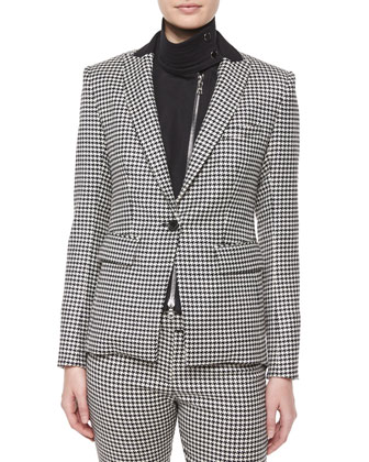 Kahn Peaked Lapel Houndstooth Jacket & Placid Layered Chiffon Blouse