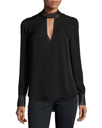 Bolton Silk Tie-Back Blouse, Black