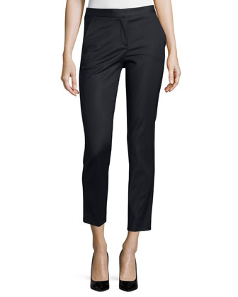 Straight-Leg Cropped Trousers, Black