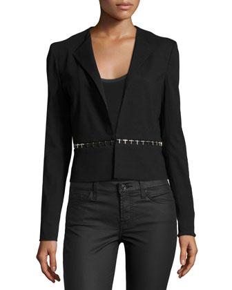 Long-Sleeve Jacket W/Embellished Waist, Black