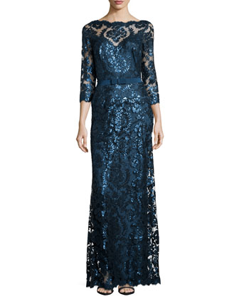 Long-Sleeve Sequined Lace Gown, Starry Night
