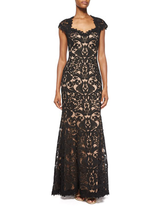 Cap-Sleeve Cutout-Back Lace Gown, Black/Nude