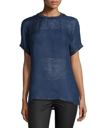 Short-Sleeve Jewel-Neck Shirt, Navy
