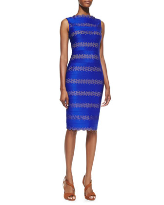 Striped Laser-Cut Cocktail Sheath Dress
