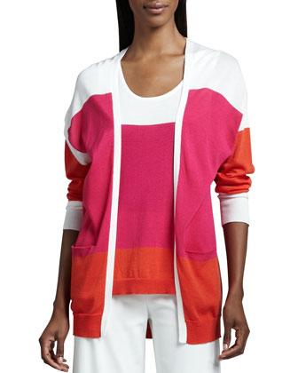 Easy Open Colorblock Cardigan, Women's