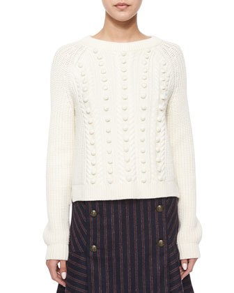 Hamilton Popcorn-Knit Sweater & Forge Striped Button Flare Skirt