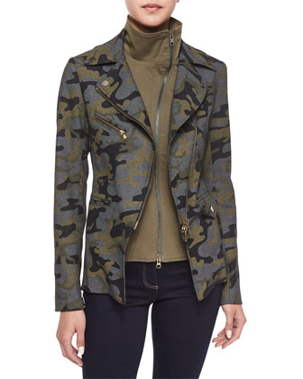 Hadley Camouflage Jacket with Moto Dickey & Flare-Leg Dark Stretch Jeans