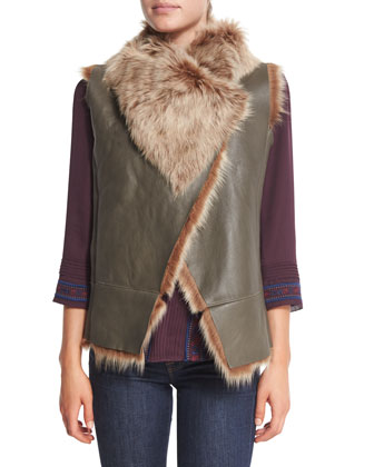 Jessup Leather Vest W/ Shearling & Katia Silk Tie-Front Boho Blouse