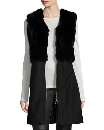 Carlie Zip-Front Long Fur Vest, Black