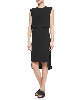 Indigo Blaze Layered Georgette Dress, Black