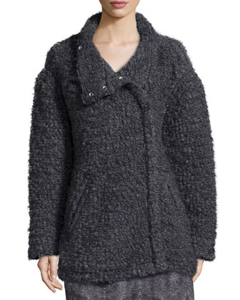 Argane Wool-Blend Knit Jacket, Dark Gray