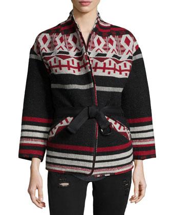 Ashton Geometric Belted Jacket, Red