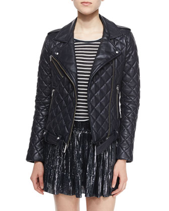 Keroa Quilted Leather Moto Jacket, Ludvig Striped Short-Sleeve Tee & Arny ...