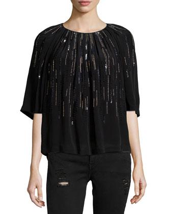 Barley Sequin-Embellished Top, Black