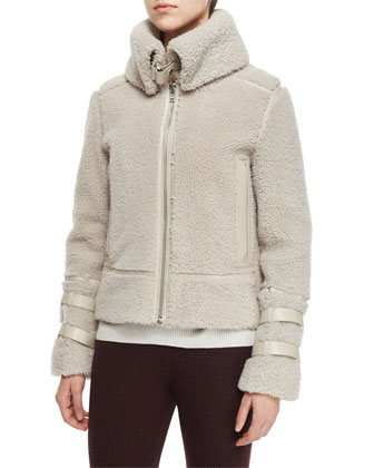 Kerry Lamb Shearling Fur Jacket, Sevigny Ribbed Arched-Hem Sweater & Shipp ...