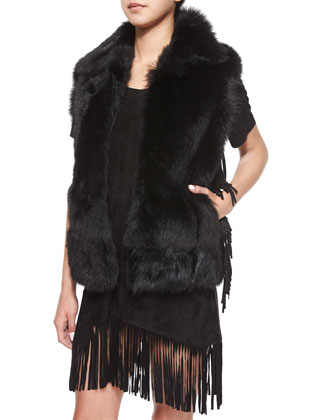 Janis Open-Front Fur Vest, Outkast
