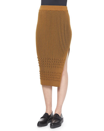 Long-Sleeve Ribbed Faux-Wrap Tunic & Mixed-Rib Knit Pencil Skirt