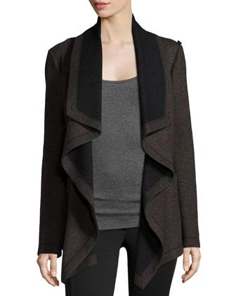 Draped-Front Cloak Jacket, Espresso Multi