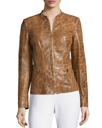 Seamed Leather Moto Jacket, Ochre Multi