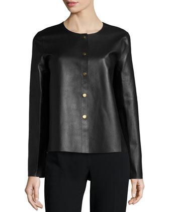 Long-Sleeve Bonded Leather Jacket, Black