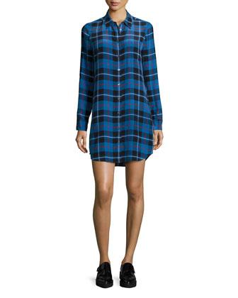 Brett Long-Sleeve Plaid Shirtdress, Classic Blue Multi