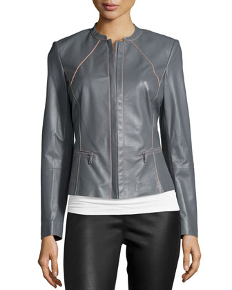 Leather Jacket W/Contrast Stitching, Rock