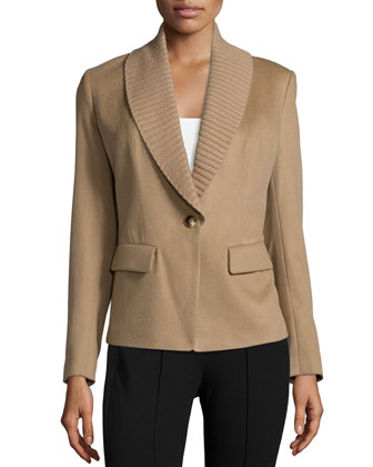 Flori Cashmere Jacket W/Knit Collar, Camel