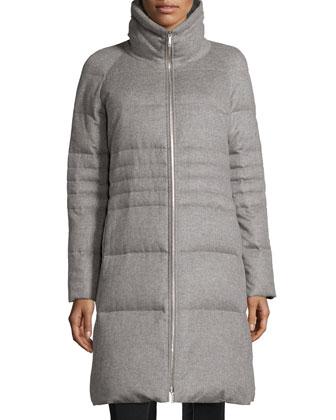 Luann Cashmere Puffer Coat, Nickel Melange
