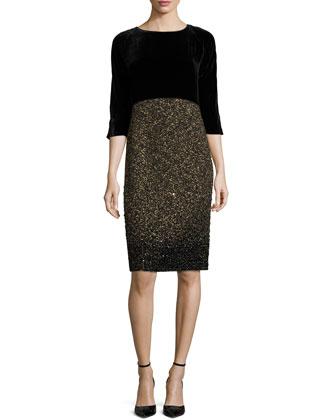 Adaline Two-Tone Metallic Dress, Black/Multi